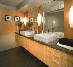 Modern Bathroom with smooth slab front cabinet doors