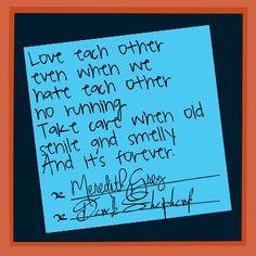 Grey's Anatomy Post-it wedding note #Meredith #Derek #Mr&MrsShepherd