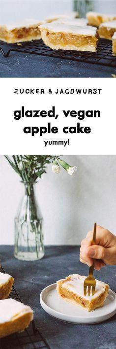 Glazed, vegan apple cake