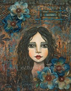 Original Mixed Media Portrait Painting by Lisa by lisalectura, $115.00