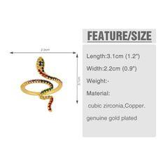 tamaño de Reino Unido o Vintage Retro Gótico estilo anillo de serpiente en espiral