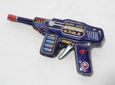 RARE Vintage Horikawa Japan Friction Space Mars Gun Double Barrel Tin Pistol Toy | eBay