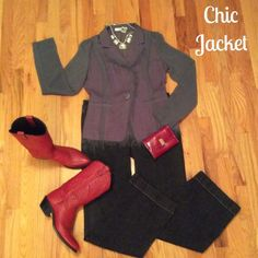 Awesome Chic Jacket Excellent Condition!!!  Super Chic style. Light and Medium Gray color. Fringe trim around the neckline, down the front and at the hem. Semi sheer sleeves and the back I'd also semi sheer. Front pockets and one button closure. Black shell under jacket is not for sale. Miilla Jackets & Coats Blazers