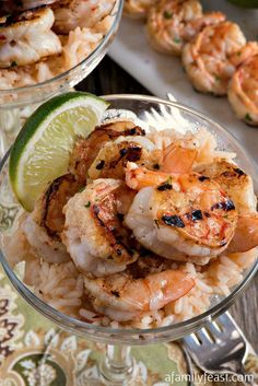 Margarita Shrimp with Rice - Grilled marinated margarita shrimp served over margarita rice! Perfect for Cinco de Mayo!