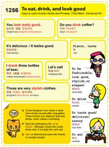 Easy to Learn Korean 1256 - Similar Sounds: Eat, drink, and look good.