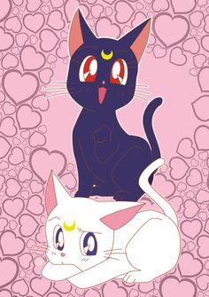 Luna e Artemis by Rickykun Luna Sailor Moon, Sailor Moon Tumblr, Sailor Moon Quotes, Sailor Moon Crystal, Luna Et Artemis, Artemis Art, Cat And Dog Drawing, Manga Anime, Moon Fairy
