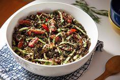 This black lentil salad recipe delivers nutrition with flair - The Washington Post Lentil Salad Recipes, Vegetarian Recipes, Veg Recipes, Healthy Recipes, Vegan Main Course, Black Lentils, Broccoli Stems, Food Articles, Eating Raw