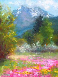 Pioneer Peaking - Flowers And Mountain In Alaska Painting talya johnson Watercolor Landscape, Abstract Landscape, Landscape Paintings, Watercolor Art, Paintings Of Nature, Pink Art, Pastel Art, Fine Art Amerika, Mountain Paintings