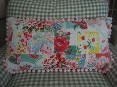 Vintage Tablecloth Patchwork Pillow