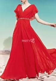 Not red, but . . . .     Google Image Result for http://www.partydq.com/1366-3621-large/flowy-sleeves-v-neck-maxi-evening-dress.jpg
