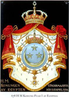 https://flic.kr/p/d3r3kj | Grand State Coat of Arms of Egypt. King Fouad I's Order of Seraphim's Stall Plate. | www.egyptianroyalty.net     Courtesy: Mr. Mitya Ivanov.