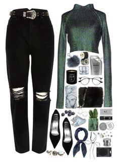 """Jade"" by ritaflagy ❤ liked on Polyvore featuring self-portrait, River Island, Maison Bereto, GlamGlow, Belkin, Prtty Peaushun, Michael Kors, Vivienne Westwood, Ray-Ban and Obsessive Compulsive Cosmetics"
