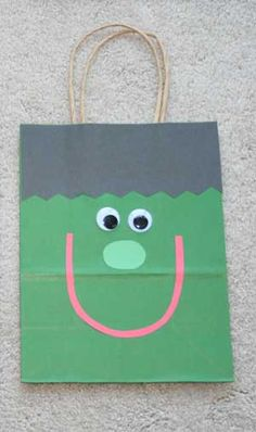 Homemade Trick-or-Treat bags - Have your kids make their own paper trick-or-treat bags! They can pick their favorite design and our provided template makes the rest of the craft that much easier.