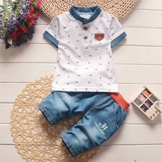 BibiCola baby boys summer clothes newborn children clothing sets for boy short sleeve shirts + jeans cool denim shorts suit baby boy clothes Baby boy stuff Newborn baby boy Baby boy onesies Baby boy style baby_boy_clothes baby Baby Outfits, Boys Summer Outfits, Summer Boy, Kids Outfits, Summer Clothes, Spring Summer, Baby Set, Baby Boy Clothing Sets, Children Clothing