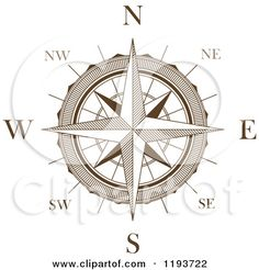 Clipart of a Brown and White Compass Rose 3 - Royalty Free Vector ...