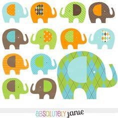 Orange Green Blue Baby Elephant Digital Clipart by AbsolutelyJanie