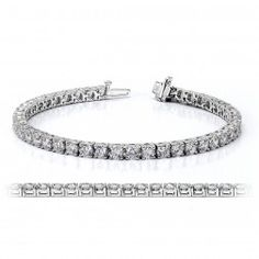 5.60 cttw Round Brilliant Cut Diamond Tennis Bracelet 14K White Gold