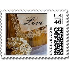 Country Lace Love Wedding Postage Stamp