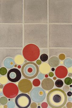 "Mercury Mosaics | 4""x4"" Organic Edge Field Tile - 1028 Grey Spice / Bubbles - 132 Jewel Brown, 1003 Sun Yellow, 1054 Cantaloupe, 913 Old Copper, 1030 Cornmeal, 226 Olive Green, 42 Olive"