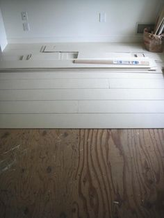 Home Remodeling Floors painted white wood floors made out of plywood - Spotted on Frugal Farmhouse Design, low-cost painted wood floors installed in the second-floor loft of a rustic barn residence on Long Island. Diy Flooring, White Painted Floors, Home Projects, White Wood Floors, Home, Painted Floors, Home Remodeling, Plywood Flooring, Flooring