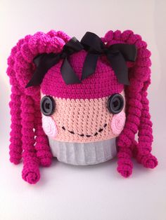 Crochet rag doll hat. Use this free pattern to copy: http://www.ravelry.com/patterns/library/loopy-for-lalaloopsy