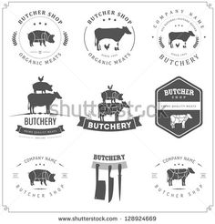 Set of butcher shop labels and design elements -Coquito - Replace leaves with holly? Butcher Typography