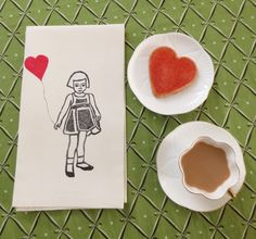 Little Girl With a Big Heart. Block printed, hand painted tea towel.
