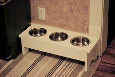 DIY elevated doggie bowls