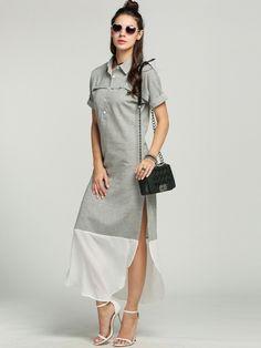 Side Slit Maxi Women Chic Long Striped Shirt Dress
