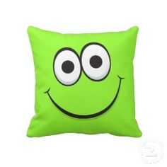 Green happy cartoon smiley face funny throw pillow