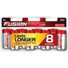 RAYOVAC 813-8CTFUS FUSION Long-Lasting Alkaline Batteries (D, 8 pk)