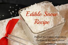 Recipe to make edible snow for your holiday baking!  This works great on cookies, cakes, cupcakes & so much more!  #Baking  #Christmas  via Uncommon Designs