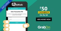 MobiKwik Ultimate Cashback Offer: Add Rs.50 and get Rs.50 cashback now! http://www.grabon.in/mobikwik-coupons/ … #CashbackCocktail