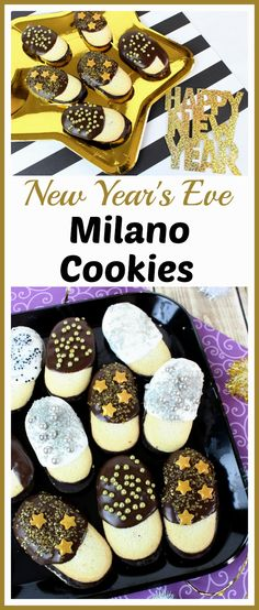 New Year's Eve Milano Cookies- It's so easy to make these festive (and delicious) semi-homemade New Year's Eve Milano cookies! They're easy enough for kids to make, and they make wonderful New Year's Eve party treats! #NewYearsEve #partyfood #easycookies #easydesserts