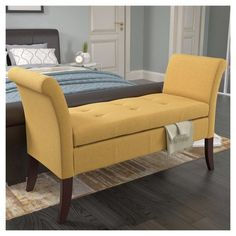 Antonio Storage Bench with Scrolled Arms - Corliving