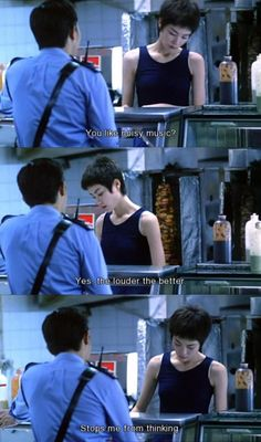 Chungking Express. Most of the time I just like playing fast (not loud) music. Just enjoy the instruments. Forget about the lyrics and wave your head.