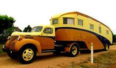 1946 Fargo truck pulling a 1949 camper - famous truck and camper in Aussie Camper Caravan, Camper Trailers, Camper Van, Vintage Rv, Vintage Trucks, Vintage Campers, Airstream, Fargo Truck, Classic Campers
