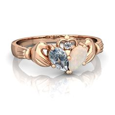 Aquamarine Claddagh 14K Rose Gold ring R2388 - front view