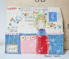hens teeth: X Envelope Art, Envelope Design, Mail Art Envelopes, Making Envelopes, Paper Art, Paper Crafts, Fabric Crafts, Journaling, Fabric Postcards