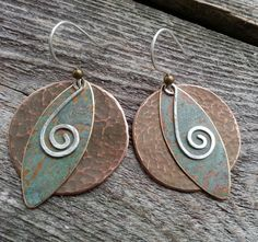 Unique Mixed Metal 3piece earrings with by silkcreekmetalworks, $42.00