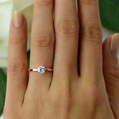 1/2 ct Promise Ring, Engagement Ring, 4 Prong Solitaire Ring, Man Made Diamond Simulant, Wedding Ring, Sterling Silver, Rose Gold Plated by TigerGemstones on Etsy https://www.etsy.com/listing/288476041/12-ct-promise-ring-engagement-ring-4 #weddingideas