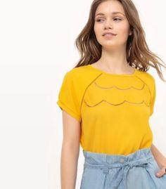t shirt moutarde unis détail facon fleur devant la redoute, collection femme tendance mode