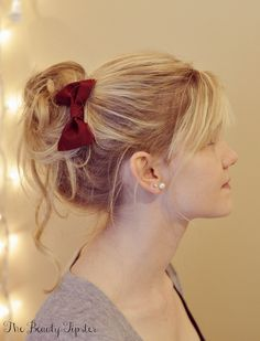 Messy Bun YouTube Video Tutorial ~  no bow, though... This bun is so versatile, you can make it dressy by adding a hair accessory or keep it causal. This style will work for medium length hair or longer, and is a beautiful option for curly hair, natural hair, or straight hair  Video/How To
