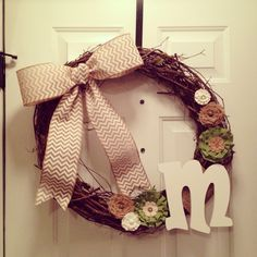 #diy #wreath #monogram #MonogramWreath #burlap  Follow me on Instagram: athena868