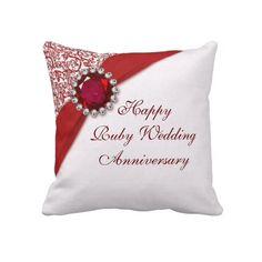 Ruby Wedding Gift For Parents : ruby wedding anniversary throw pillow ruby wedding anniversary parents ...