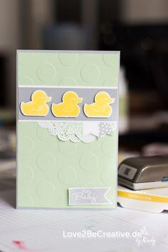 Babykarte, Baby Card - Love2BeCreative.de - by Ruby Stampin Up!, Anleitungen, Tutorials, Einfach so, Gastgeschenke, Mitbringsel, Fähnchenstanze, Fahnengruß (Gastgeberset), Flüsterweiß / Whisper White,Geburt, Im Fähnchenfieber (Sale-a-Bration 2014), In Colors 2013 - 2015, Osterglocke / Daffodil Delight,Pistazie / Pistachio Pudding, Savanne, Schiefergrau / Smoky Slate, Signalfarben / Brights, Something for Baby Stampin' Up! Workshop