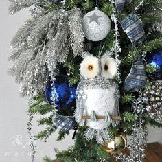 シルバーフクロウオーナメントL|クリスマス雑貨の通販【マテリ】 |