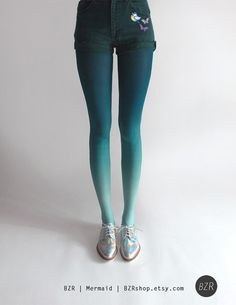 (Size S -ALB) BZR Ombré tights in Mermaid by BZRshop on Etsy, $40.00