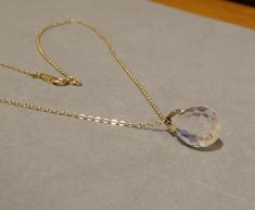 Vintage #Crystal #Necklace Clear Teardrop Disco Ball Pendant 12K Gold Filled Chain Dainty Delicate Feminine Timeless