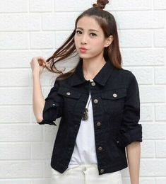 Detail Feedback Questions About 2019 Black Basic Jacket Female . Detail Feedback Questions about 2019 Black Basic Jacket Female woman denim jacket black - Woman Denim Jacket Pink Denim Jacket, Denim Bomber Jacket, Denim Jackets, Leather Jackets, Green Blazer, Coats For Women, Jackets For Women, Ladies Jackets, Black Jeans Women